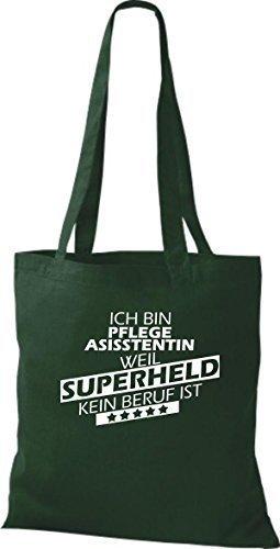Borsa di stoffa SONO pflegeasisstentin, WEIL supereroe NESSUN lavoro è Verde