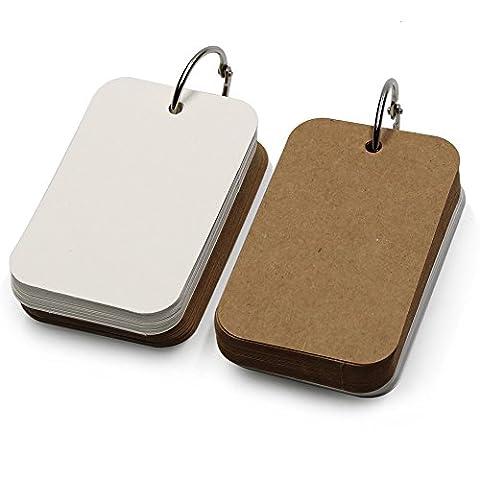 Lenhart Pack of 2 Binder Ring Easy Flip Flash Kraft Paper Blank Message/Greeting/Present Card DIY Bookmark (8.6*5.4cm) - Blocchi Nursery Abc