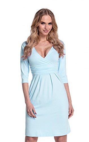 Glamour Empire. Damen exklusives Jersey Kleid V-Ausschnitt Wickeloptik . 001 Hellblau