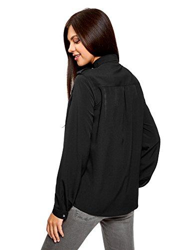 oodji Collection Damen Bluse mit Schulterklappen und Brusttaschen Schwarz (2900N)