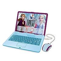 Lexibook JC595FZi1_50 Disney Frozen 2 Elsa Bilingual Educational Laptop Toy Girls, Learn Play-120 Activities Mathematics, Music, Logic, English /Spanish, Blue/Purple