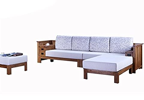 WMAOT Soild Wood Frame Sectional Sofa With Foam Cushion Sofa