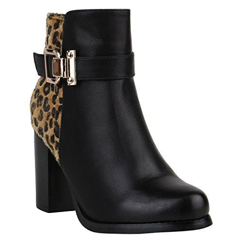 Gefütterte Damen Stiefeletten Animal Print Leo Blockabsatz Boots 151564 Schwarz Leopard 39 | Flandell® (Leopard Print Stiefel)