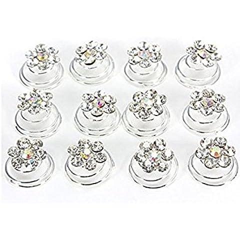 S&E Ropa de mujeres de flores Lover 12Pcs delicado cristal tuerce horquilla clips de boda nupcial del pelo del partido del palillo de la