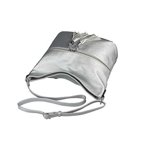 OBC Only-Beautiful-Couture, Borsa a spalla donna bianco bianco ca.: 39x32x15 cm (BxHxT) argento