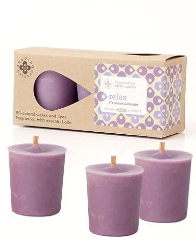 Root Candles Seeking Balance Votive Geranium Lavender Relax Candle, Wax, Light Purple, Pack of 3