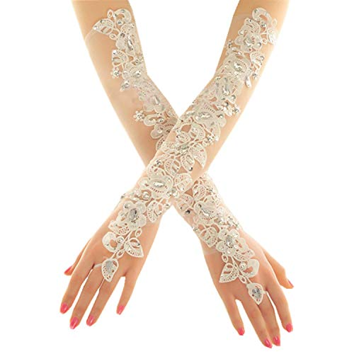 PANAX Damen extra lang Handschuhe aus elastisch Fine Netze Spitze Diamant, Perle Beige - Stulpen in Einheitsgröße für Frauen, Hochzeiten, Opern, Veranstaltungen, Fasching, Karneval, Tanzen, - Spitze Kostüm Handschuhe