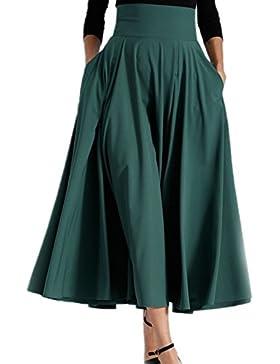 Vintage 1940 Mujeres Bowknot Cintura Alta Falda De Una Linea De Swing Maxi Bolsillo