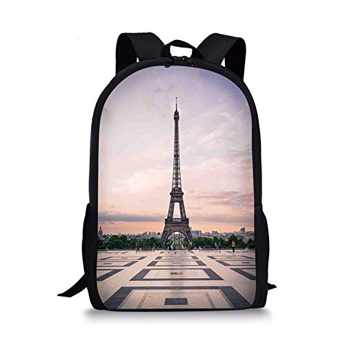 School Bags Paris City Decor,Trocadero and Eiffel Tower at Sunshine Paris Skyline Historic Landscape View, for Boys&Girls Mens Sport Daypack