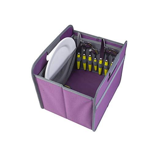 41CAmbgDWkL - Picknicker für Faltboxen faltbar Polyester Besteckkorb Geschirr Outdoor Party Camping Grillen Reise