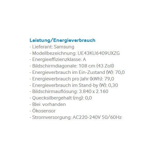 Samsung UE43KU6409 108 cm (43 Zoll) 4k Fernseher - 3