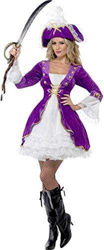 Lady pirata adulto viola bellezza costume Outfit con vestito e cappello Multi 48-50 L
