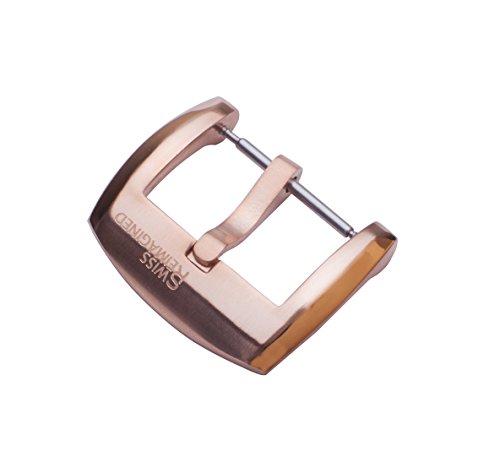 20mm gebuerstet mit polierten Schultern in Rose-Gold Edelstahl Dornschliesse fuer Uhrenarmband -Signature Edition (Schulter Rose)