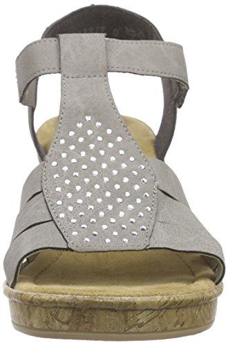 Rieker 69798 Women Open Toe, Sandales ouvertes femme Gris - Grau (staub / 42)