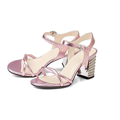 W&LM Signorina Tacco alto sandali vera pelle sandali Tendon bottom Greggio Tacchi alti Bocca poco profonda sandali Pink