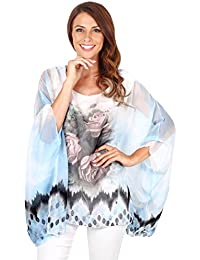 KRISP® Damen Seidiges Chiffon Kimono Top
