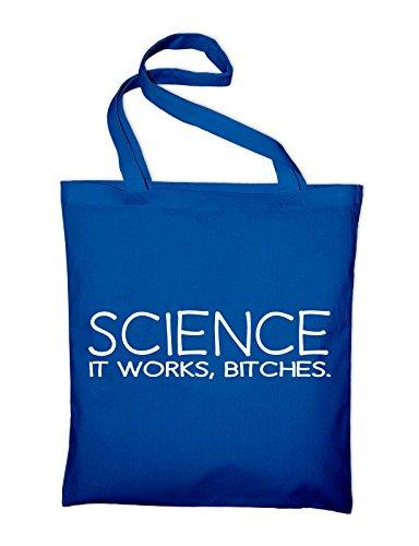 Science it works bitches Jutebeutel, Beutel, Stoffbeutel, Baumwolltasche, natur Royalblau