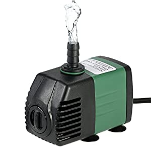 Decdeal 1500L/H 25W Bomba de Agua Sumergible con 2 Boquillas AC220-240V para Acuario Fuentes Jardín de Agua Sistema…