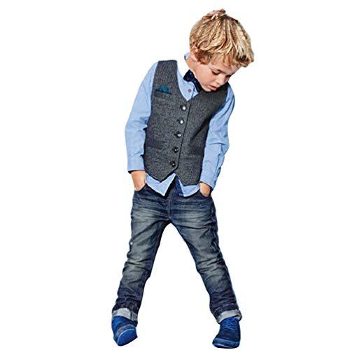Xinwcanga Kinderanzug Jungen Gentleman 3 Pcs Hemd + Weste + Hose Bekleidungsset Baby Kinder Kinderanzug Junge Anzug (Blau, 4T) (Anzug 4t Jungen)