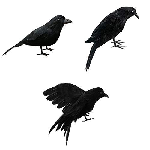 LOVIVER 3X Künstliche Realistische Raven Crows Für Garten Hochzeit Halloween