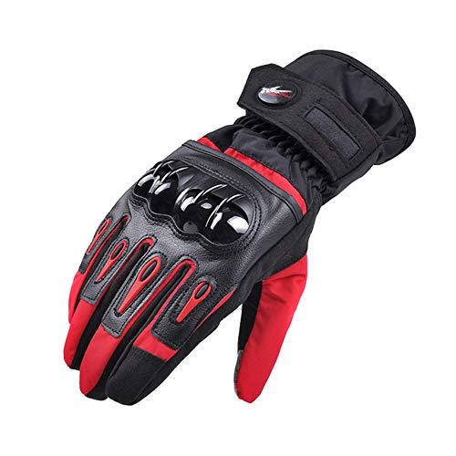 XUMENG Guanti da Moto Uomo Inverno Touchscreen Impermeabile Antivento Caldi Guanti Duro Knuckle di Protezione, per Il Motociclo Escursionismo,Rosso,L