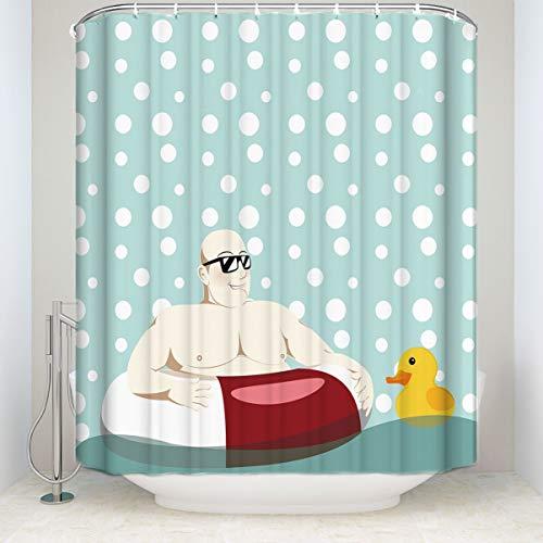 Renfengchui Kreatives Design Schwimmen Mann Gelbe Ente Dusche Vorhang Wasserdicht Polyester Stoff Bad Dekoration Druck Dusche Vorhang 180 X 200 cm (Ente Dusche Vorhang Stoff)