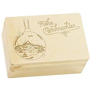 LAUBLUST Große Holzkiste Weihnachts-Kugel Gravur - 30 x 20 x 14 cm, Natur | Geschenkkiste aus Holz - Geschenk-Verpackung | Aufbewahrungskiste | Spielzeug-Truhe | Erinnerungsbox | Deko-Kasten