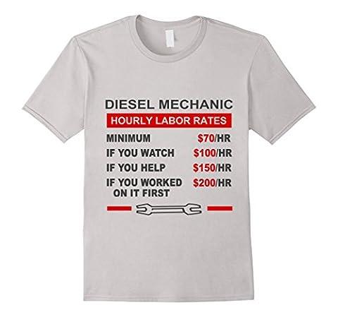 Diesel Mechanic Hourly Labor Rates T-shirts Herren, Größe L Silber
