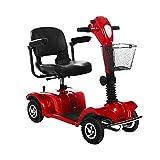 RKY Rollstuhl Elektrischer Rollstuhl, älterer behinderter automatischer Rollstuhl, tragbares vierrädriges Sorgfalt-Auto, rot /-/