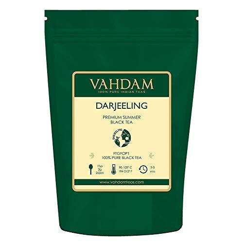 VAHDAM® Darjeeling Loose Leaf (Lose Blätter) Tee (120+ Tassen), Ergiebig & Vollmundig, Schwarzer Second Flush Tee, 100% Zertifiziert, Rein & Unverschnitten. Direkt aus Indien, 255g -