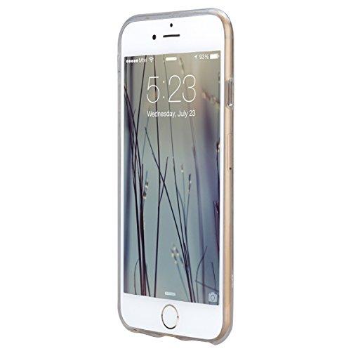 GrandEver iPhone 6 Hülle, iPhone 6S Weiche Silikon Transparent Handyhülle Diamant Schutzhülle mit Tribal Feder Muster Crystal Clear Schlank TPU Bumper Handytasche Ultra Slim Kunstleder Zurück Soft Ski Feder