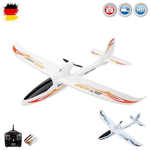 3-Kanal 2.4GHz RC ferngesteuertes Segelflugzeug inkl. HD-KAMERA-SET, Flieger mit einer Spannweite von 750mm, Glider mit EPO-Material, Komplett-Set inkl. Akku und Fernsteuerung - Motor Flugzeug