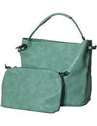 Samtlebe® - MB8262 Modische Bag-in-Bag Shopper Handtasche Henkeltasche mit Schulterriemen in Türkis