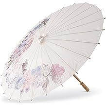 Sombrilla de papel de estilo clásico con diseño de flores y mango ...