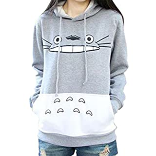 ACEFAST INC Women's Totoro Hoodie Cosplay Costume Sweater Casual Pullover Gray