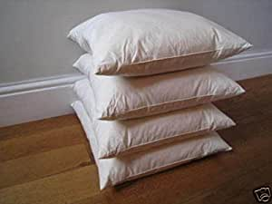 """The Bettersleep Company Duck Feather Cushion Pad Filler 4 pack 20""""x20"""" (50cmx50cm) 233tc Cambric Cover Made in UK"""