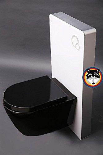 Wand-WC Vorwandelement WC Aluminium + Glas Farbe weiss + Wand WC Farbe schwarz