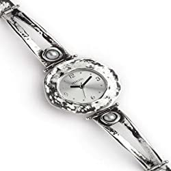 Aviv Ladies Handmade Silver Watch With Pearl Stones