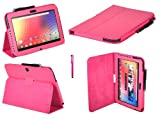 Emartbuy® Samsung Google Nexus 10 Tablet Hot Pink Stylus + Hot Pink Pu Leder Multifunktions-/ Multi Angle Wallet/Cover / Stand/Typing Gehäuse