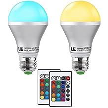 LE 2X Lampadina LED RGB 5W E27, Pari incandescente 30W 16 Colori Dimmerabile Telecomando Incluso Illuminazione