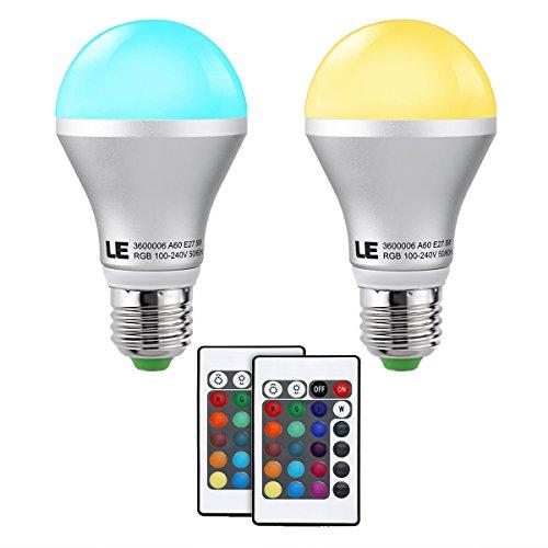 LE 2X Lampadina LED RGB 5W E27, Pari incandescente 30W 16 Colori Dimmerabile Telecomando Incluso