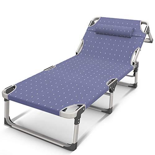 Eeayyygch Blau Klappbett Sonnenliege Einzelbett Campingbett Büro Siesta Bett Klappstuhl Krankenhausbett einfache Bett mit Verstärkung Verstellbares Kissen Sommer Sonnenliege Bett