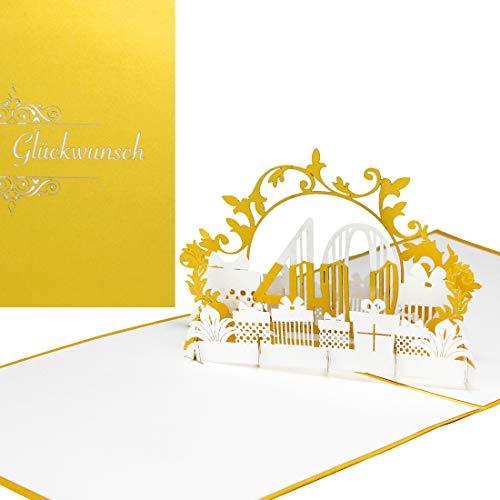 edlem Gold - zum 40. Geburtstag & zur Rubinhochzeit - 3D Geburtstagskarte & Glückwunschkarte als kleines Geschenk, Deko, Geschenkgutschein & Geschenkverpackung zum Jubiläum ()