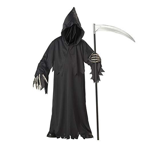 Giocattoli deluxe truce mietitrice costumi halloween morte costume accappatoio cappuccio con face cover e allegato mantellina