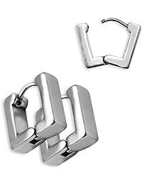 2 hermosa de acero inoxidable Soulcats® pendientes de aro de plata cuadrado brillante básicas