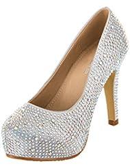 VELCANS Chaussures Mode Strass Talons et Plateforme Escarpins de Mariage, Mariée, Soirée, Parti et Prom Femmes