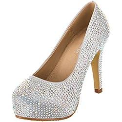 VELCANS Mode Strass Hochzeit und Ball High Heels für Braut, Brautjungfern und Abschlussball Damen Pumps Schuhe (41.5, Silber)