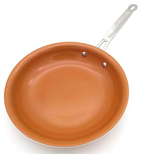 Non-stick Kupfer Pfanne mit Keramikbeschichtung und Induktion kochen, Backofen- und spülmaschinenfest.