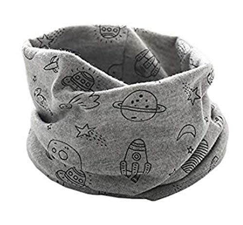 Boomly autunno e inverno calda multifunzione sciarpa per bambini loop o-ring sciarpa infinita scaldacollo sciarpa in cotone (grigio#2)