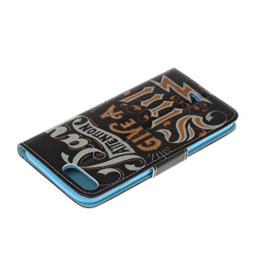 Cover iPhone 7 Plus 5.5 ,MAGQI Anti Impronta Digitale Flip Case Slim Fit Copertura del Portafoglio Distintivo Cuoio PU Con Slot per Schede Supporto Telefonico Morbido Silicone Custodia Innesto Paraurt Citazioni